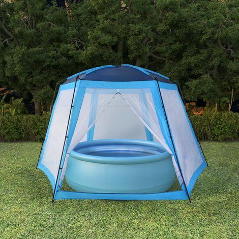 Topdeal VDTD32643_FR Tente de piscine Tissu 500x433x250 cm Bleu