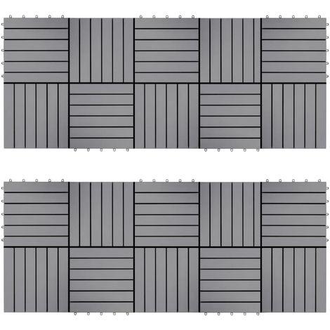 Topdeal VDTD40795_FR Carreaux de terrasse 20pcs Délavage gris 30x30 cm Acacia solide