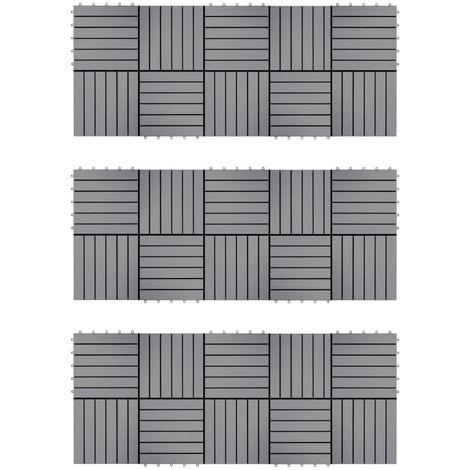 Topdeal VDTD40796_FR Carreaux de terrasse 30pcs Délavage gris 30x30 cm Acacia solide