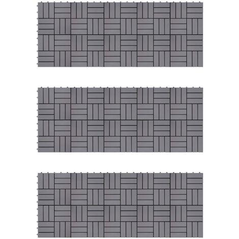 Topdeal VDTD40798_FR Carreaux de terrasse 30pcs Délavage gris 30x30 cm Acacia solide