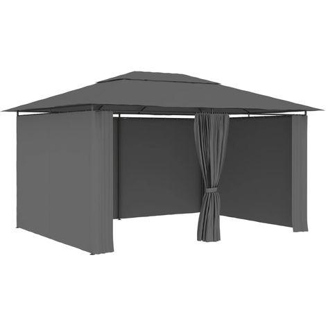 Topdeal VDTD46228_FR Tonnelle de jardin avec rideaux 4 x 3 m Anthracite