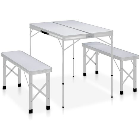 Topdeal VDTD46345_FR Table de camping pliable avec 2 bancs Aluminium Blanc