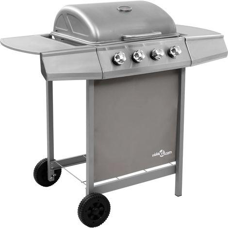 Topdeal VDTD48303_FR Barbecue gril à gaz avec 4 brûleurs Argenté