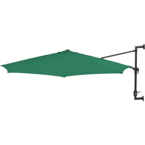 Topdeal Wall-Mounted Parasol with Metal Pole 300 cm Green VDTD29044