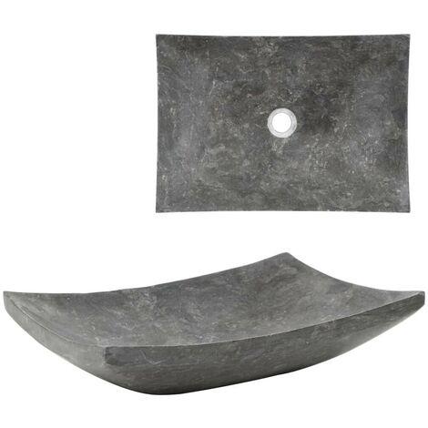 Topdeal Waschbecken 50x35x12 cm Marmor Schwarz 04805