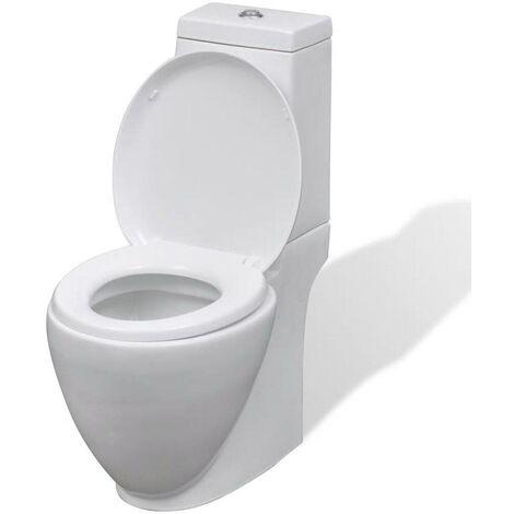 Topdeal WC Ceramic Toilet Bathroom Round Toilet White VDTD03837