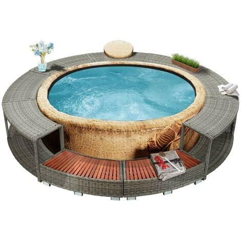 Topdeal Whirlpool-Umrandung Grau Poly Rattan 30002