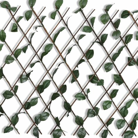 Topdeal Willow Trellis Fence 5 pcs with Artificial Leaves 180x90 cm VDTD03762