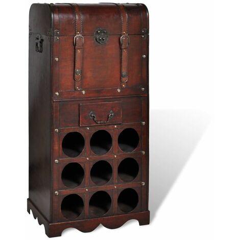 Topdeal Wooden Wine Rack for 9 Bottles with Storage VDTD08236