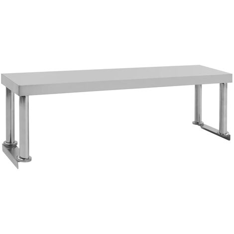 Topdeal Work Table Overshelf 120x30x35 cm Stainless Steel VDTD47115