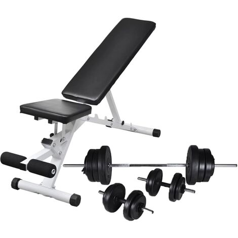 Topdeal Workout Bench with Barbell and Dumbbell Set 60.5 kg VDTD18277
