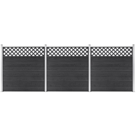 Topdeal WPC Fence Set 3 Square 526x185 Grey VDTD39964