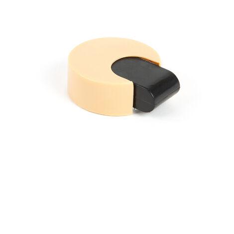 Tope de puerta adhesivo marca REI, de estilo decorativo, fabricado en beige y con acabado plástico.