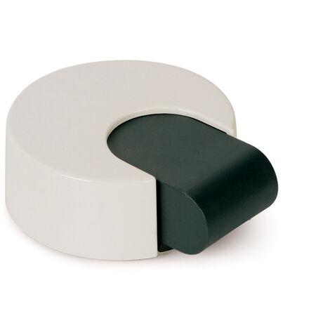 Tope de puerta adhesivo marca REI, de estilo decorativo, fabricado en blanco y con acabado plástico.