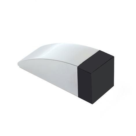 Tope de puerta adhesivo marca REI, fabricado en acero inoxidable, con acabado inox brillo y diseño elegante