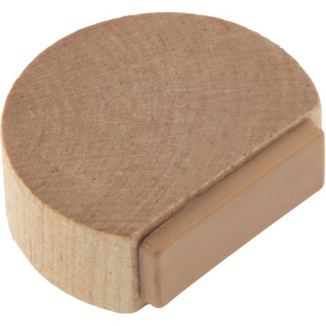 Tope de puerta adhesivo marca REI, fabricado en madera, con acabado antracita y forma circular