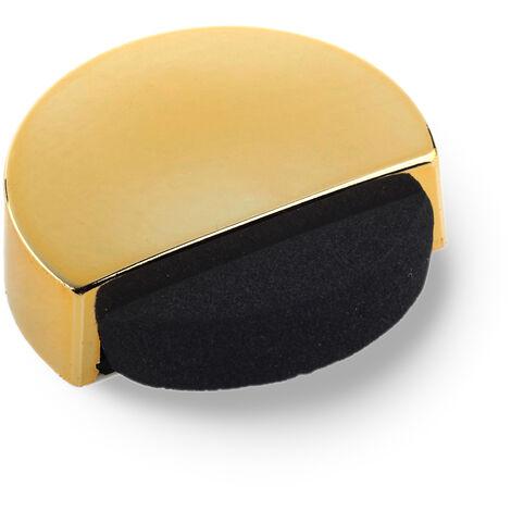 Tope de puerta adhesivo marca REI, fabricado en plástico, con acabado oro y forma circular