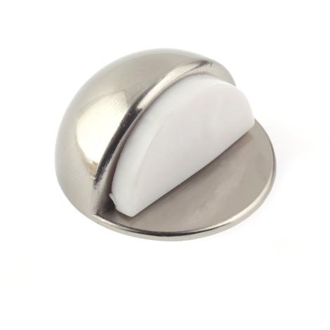 Tope de puerta adhesivo marca REI, fabricado en zamak, con acabado níquel satinado y diseño redondeado