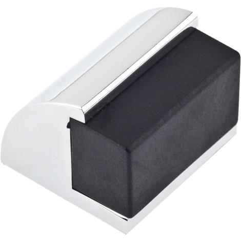 Tope de puerta adhesivo y atornillable marca REI, fabricado en aluminio, con acabado cromo brillo, formas redondeadas y tope rectangular