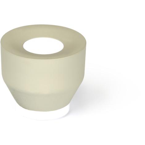 Tope de puerta adhesivo y atornillable modelo SOFT 1, fabricado en plástico, con acabado crema/blanco y diseño cilíndrico