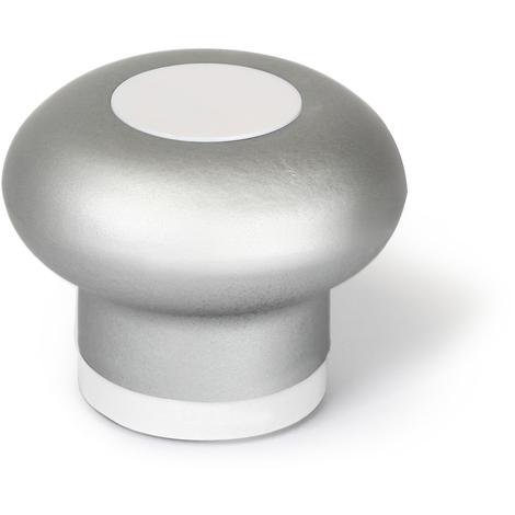 Tope de puerta adhesivo y atornillable modelo SOFT 3, fabricado en plástico, con acabado aluminio/blanco y diseño redondeado