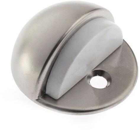 Tope de puerta atornillable marca REI, fabricado en zamak, con acabado níquel bisú y diseño redondeado
