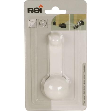 Tope de puerta con sujeción adhesivo marca REI, fabricado en plástico, con acabado blanco y diseño redondeado