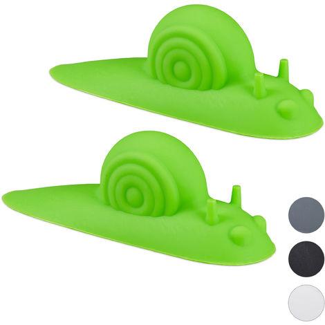 Tope para puertas con forma de caracol, Set doble, Suave, Protector para el suelo, Anti-portazos, Verde