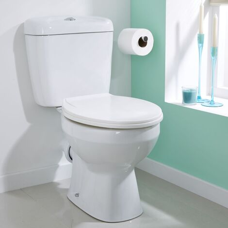 Toppin Close Coupled Modern Cloakroom Bathroom Toilet Pan Cistern WC and Soft Close Seat White