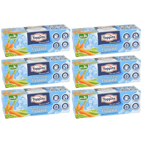 TOPPITS 6x Gefrierbeutel 3 L 35er ***schwedische Verpackung mit deutschem Etikett***