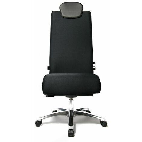 Topstar Siège de bureau, charge max. 150 kg - mécanisme synchrone, assise coulissante, appuie-tête - noir - Coloris habillage: noir