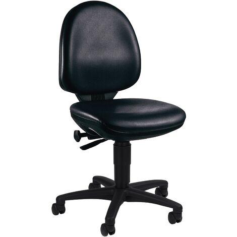 TOPSTAR Siège de travail industriel en similicuir noir-H.420-550mm siège profilé en similicuir