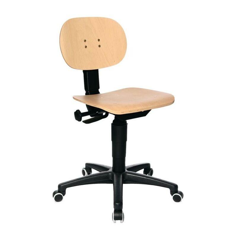 TOPSTAR Chaise d'atelier pivotante Tec 11 rouleaux hêtre 420-550 mm