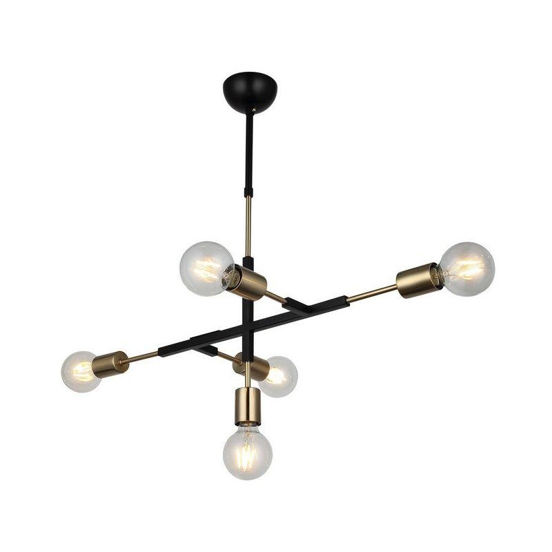 Tora Haengelampe - Kronleuchter - Deckenkronleuchter - Gold, Schwarz aus Metall, 38 x 71 x 69 cm, 5 x E27, 40W
