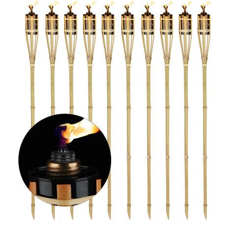 """main image of """"Torche de jardin en lot de 10, flambeaux en bambou, avec mèche, éclairage d'ambiance, hauteur : 90 cm, nature"""""""