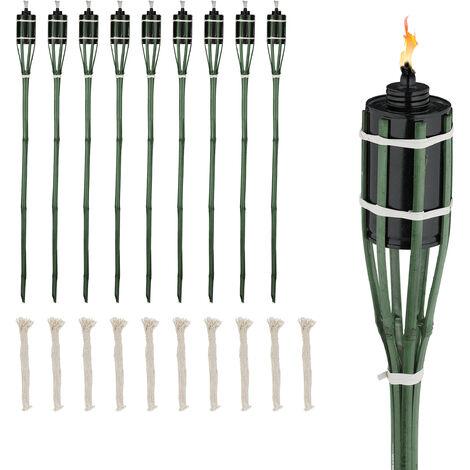 Torche jardin, lot de 10, bambou, lampe à huile pour dehors, avec mèches de rechange, hauteur : 90 cm, vert