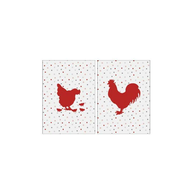 Aubry Gaspard - Torchon de cuisine en coton (Lot de 2) Poule et coq rouge - Rouge