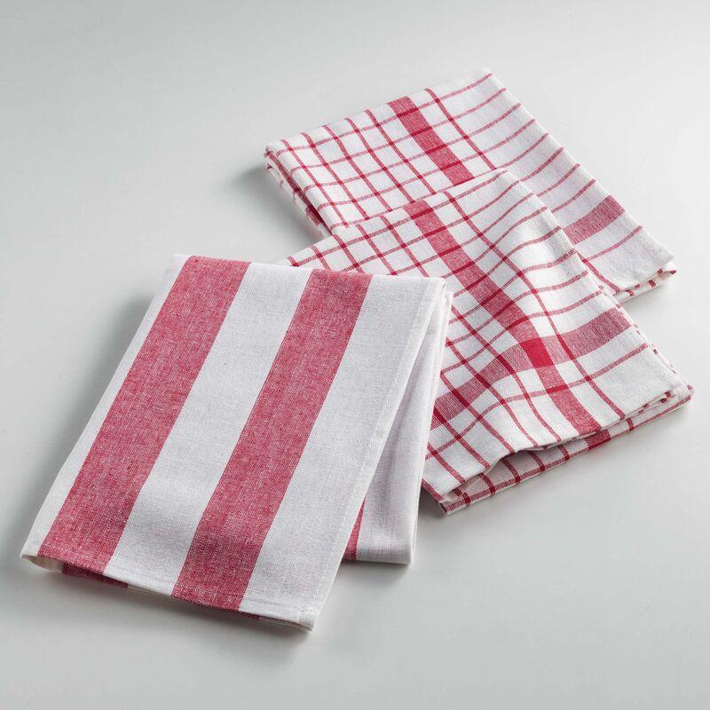 Torchons /3 50 x 70 cm coton tisse utilo Rouge