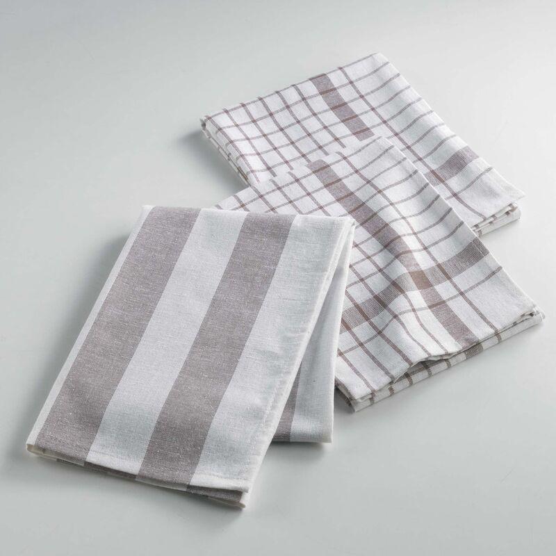 Douceur D'intérieur - Lot de 3 torchons en coton tissé - 50 x 70 cm - Utilo - Taupe - Livraison gratuite