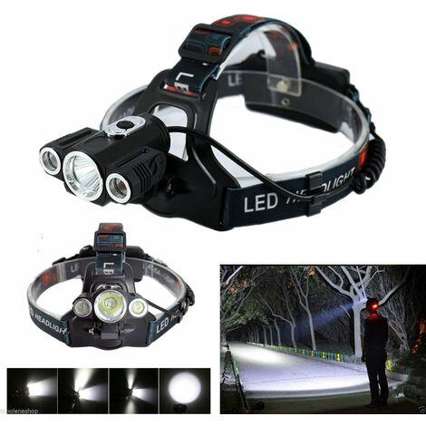 TORCIA LAMPADA FRONTALE LED RICARICABILE 3 LED 5000 LUMEN CREE T6 100mt 180° 185
