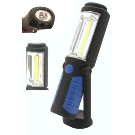 Lampade Portatili A Led Professionali.Torcia Lampada Portatile A Batterie A Led Strip Cob Base Orientabile E Gancio
