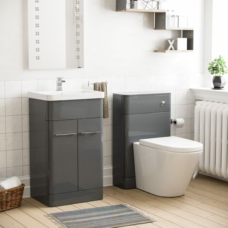 Torex Grey Vanity Unit and Back To Wall WC Toilet Suite