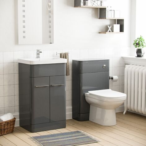Torex Grey Vanity Unit and WC Toilet Suite