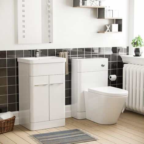 Torex White Vanity Cabinet with Back To Wall WC Toilet