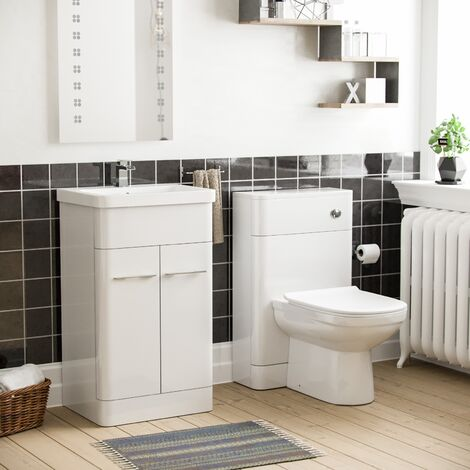 Torex White Vanity Unit and WC Toilet Suite