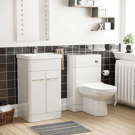 Torex White Vanity Unit and WC Toilet Suite