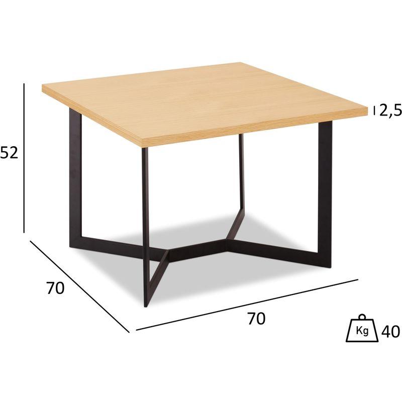Pkline - Tori Couchtisch 70x70 cm, Eiche Furnier, schwarz. 45-130029