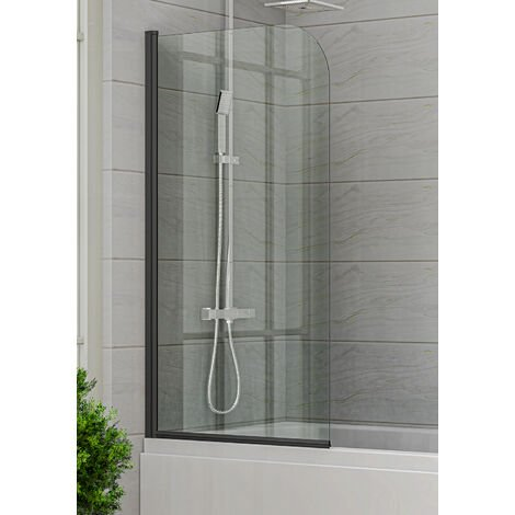 Torino 5 mm pared de baño con nano-revestimiento 80 x 140cm Negro - Mampara de ducha Mampara de ducha Montaje en pared de baño