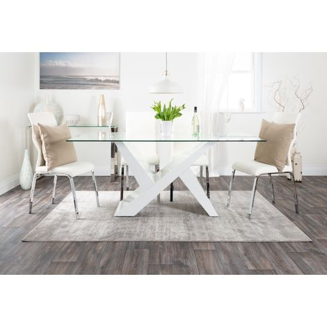 Torino White High Gloss And Glass Modern Dining Table And 6 Andora Chairs Set