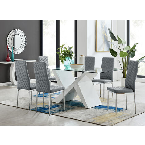 Torino White High Gloss And Glass Modern Dining Table And 6 Milan Chairs Set